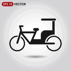 rickshaw single vector icon on light background