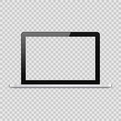 Realistic vector black laptop mockup template with blank screen on checkered transparent background