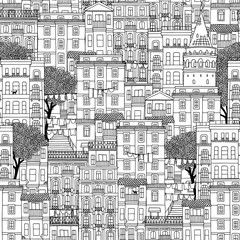 Hand drawn seamless pattern of houses in Istanbul, Turkey with the Galata tower and trees
