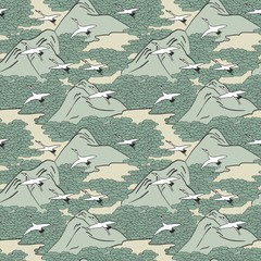 Japanese art inspired seamless pattern of gliding cranes over mountains