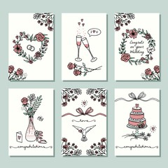 Set of six hand drawn wedding mini cards, design template with flower wreaths, champagne glasses and wedding cake