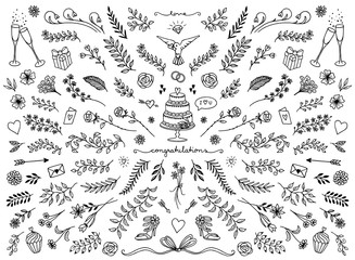 Hand sketched floral design elements for wedding cards, flowers and leaves for text decoration