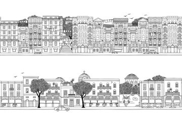 Two hand drawn seamless city banners - turkish and greek houses (Istanbul and Athens)