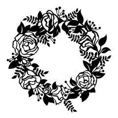 Flower blossom Wreath circle sign paper cut art vector design