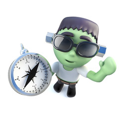 3d Funny cartoon frankenstein monster character holding a compass