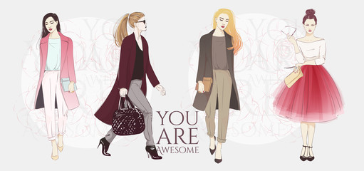 Beautiful hipster young long hair women in a fashion jackets, retro clothes and pants. Vector hand drawn sketch illustration.