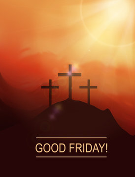 Good friday! Easter scene with cross.