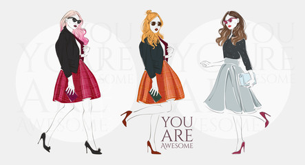 Beautiful young blonde women in a fashion retro clothes with bag on high heels. Vector hand drawn illustration.