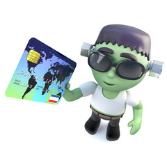 3d Funny cartoon frankenstein monster character holding a debit card