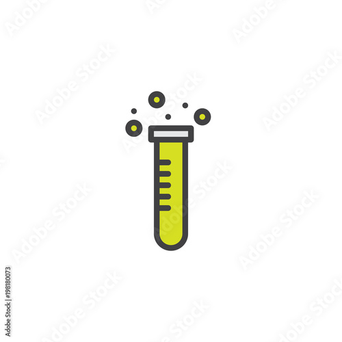 Test Tube With Chemical Reaction Filled Outline Icon Line Vector