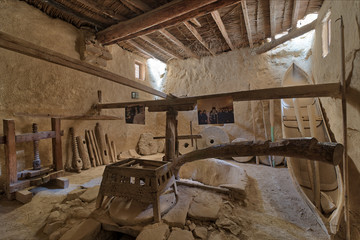 Ancient rotary Flour Mill used to be rotated by animal power at the Monastery of Saint Paul the Anchorite, located in the Eastern Desert, near the Red Sea mountains, Egypt