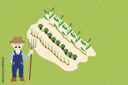 Farmer and Garden Plot illustration