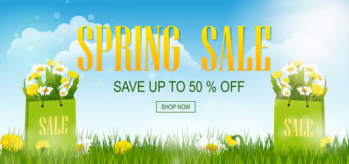 Spring sale banner with field, spring flowers dandelions, chamomiles  with grass and shopping bag