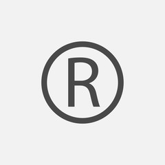 trademark vector icon R letter symbol for brands companies and copyrights