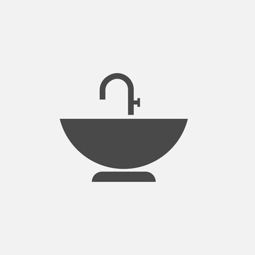 sink vector icon with tap for water and bathing hygiene