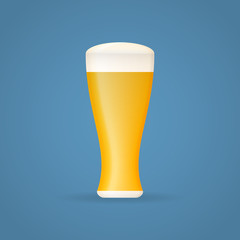 Beer glass isolated on background. Vector illustration.