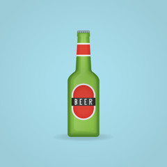 Green beer bottle with label isolated on background. Vector illustration.