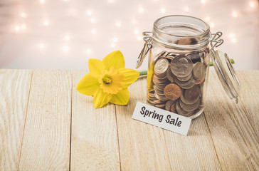 Sping Sale money jar savings motivational concept on wooden board with yellow daffodil flower