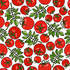 Seamless Pattern with Whole Tomato, Cherry Tomatoes and Tomato Green Leaves. Ketchup or Salad. Fresh Ripe Vegetables Background. Vegan Cuisine. Hand Drawn Vector Illustration. Savoyar Doodle Style.