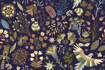 Vector bright seamless pattern with tropical plants, flowers and birds. Colorful wallpaper for textile, cover, wrapping paper, web