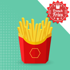 French fries in a red package. Vector Illustration, eps 10.