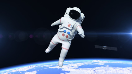 Astronaut is flying over the North Pole. Astronaut pushing the boundaries of exploration.