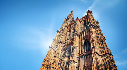 European historical Gothic cathedral in Strasbourg in France Wall mural