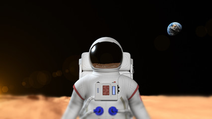 Astronaut On The Mars Surface. Earth is visible in the background.