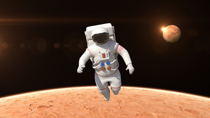 Astronaut is flying over the planet Mars. Astronaut pushing the boundaries of exploration.