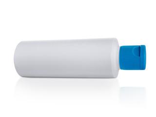 White plastic bottle Blue cap. isolated on white background
