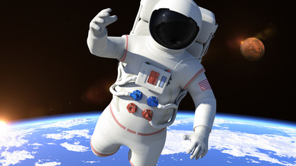 Astronaut is flying over the North Pole and slowly closing. Astronaut pushing the boundaries of exploration.