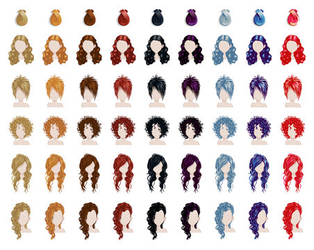 Big set of colorful beautiful female hair style sprites. Vector game design for app