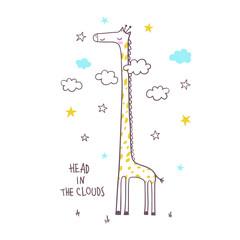 Cute giraffe. Vector illustration for kids