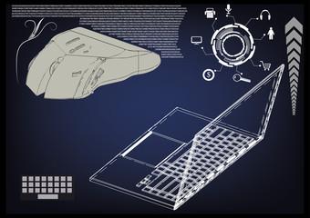 laptop, mouse on a blue
