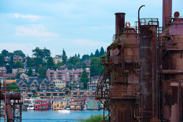 Gas Works Park and traditional Floating houses on Lake Union, Seattle, Washington State, USA