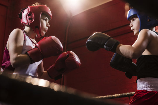 Two young male boxers fitting and training in the ring for a fight