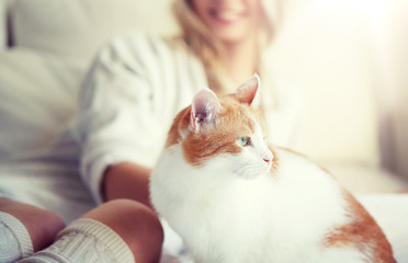 Fototapete - pets, animals and people concept - happy young woman with cat in bed at home