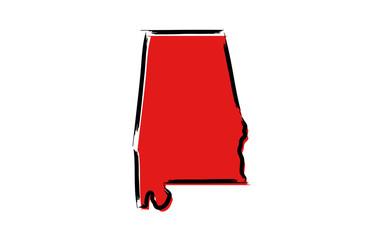 Stylized red sketch map of Alabama