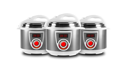 Home appliance - Three Multicookers isolated