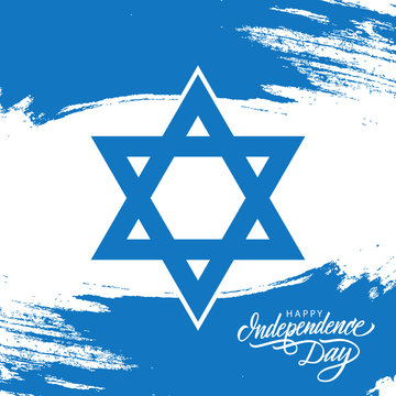 Israel Happy Independence Day celebrate card with israeli national flag brush stroke and hand drawn lettering. Vector illustration.