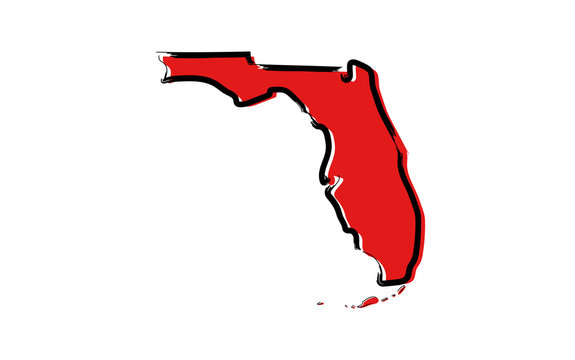 Stylized red sketch map of Florida