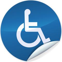 Sticker rond handicapé (bleu)