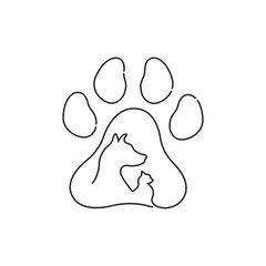 An icon of pets painted in ink on a white background