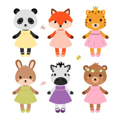 Cute dressed animals in modern flat style. Vector.
