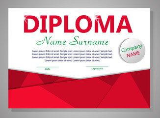Red template diploma or certificate. Elegant background. Vector