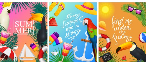 Nautical Summer cards. Marine vacation on the beach. Tropical plants and birds, camera and anchor, milkshake, deckchair, toucan and parrot. Poster or background. retro travel. Vintage holiday at sea.