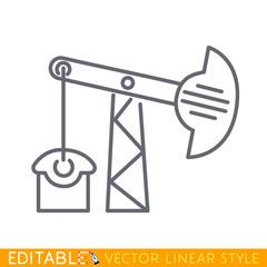 Oil pump or oil rig or pump jack icon. Editable line sketch icon. Stock vector illustration.