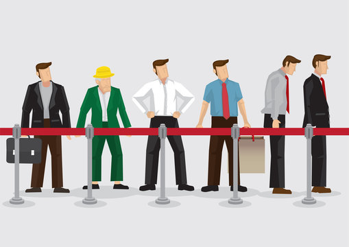People Waiting Behind Stanchions Cartoon Vector Illustration