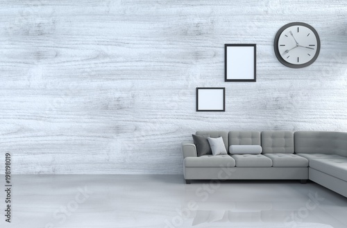 Grey White Living Room Decor With Grey Sofa Wall Clock White Wood