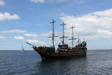 Pirate ship on the Baltic Sea